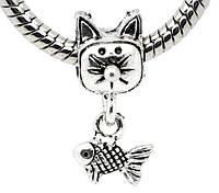 Шарм пандора кот и рыба серебристый