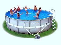Каркасный бассейн Intex 54452/28322 Интекс 488 х 122 см + насос-фильтр, лестница, тент, подстилка.