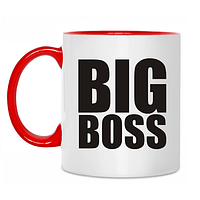 Чашка цветная внутри с любым текстом Big Boss