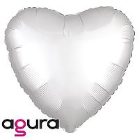 Фольгированный шар 19' Agura (Агура) Сердце белое мистик, 49 см