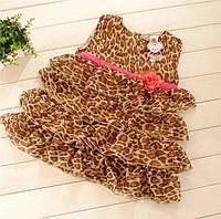 Шифоновое летнее леопардовое платье для девочки 1-6 лет