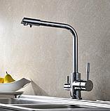 Комбинированный кухонный смеситель Blue Water Польша Amanda chrom подключение фильтрованной воды, фото 2