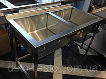 Мойка двухсекционная из нержавейки эконом 1200/600/850 мм, фото 2