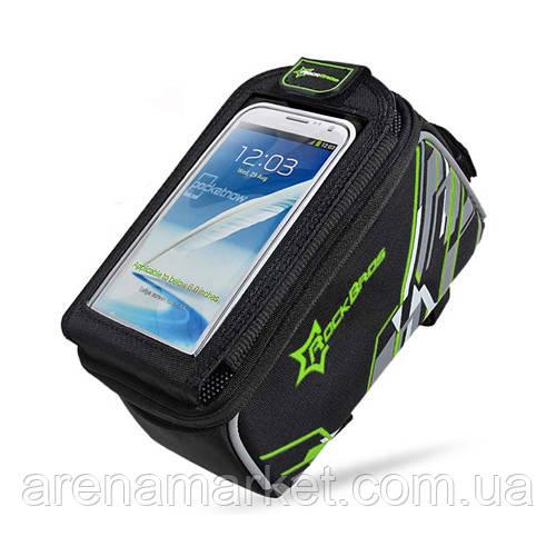 """Велосипедна сумка RockBros на раму з прозорим відділенням під смартфон 6.0"""" - зелений колір"""