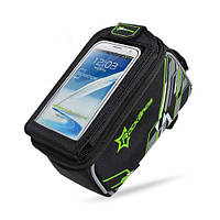 """Велосипедна сумка RockBros на раму з прозорим відділенням під смартфон 4.8"""" - зелений колір, фото 1"""