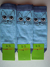 Носки Детские котики  голубые размер 23-26 на 3-5 лет