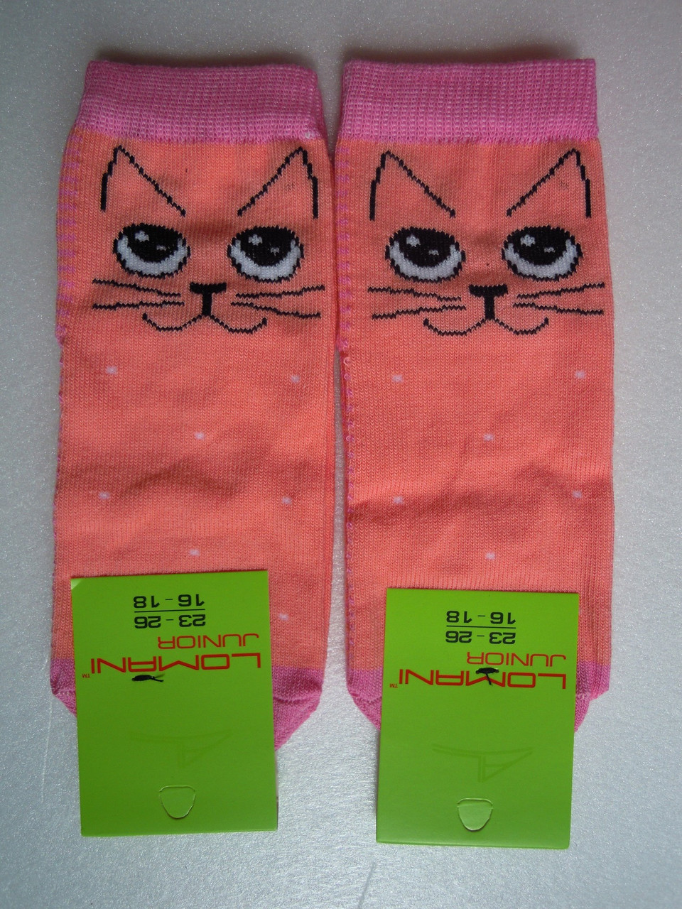 Носки Детские котики персиковые размер 23-26 на 3-5 лет