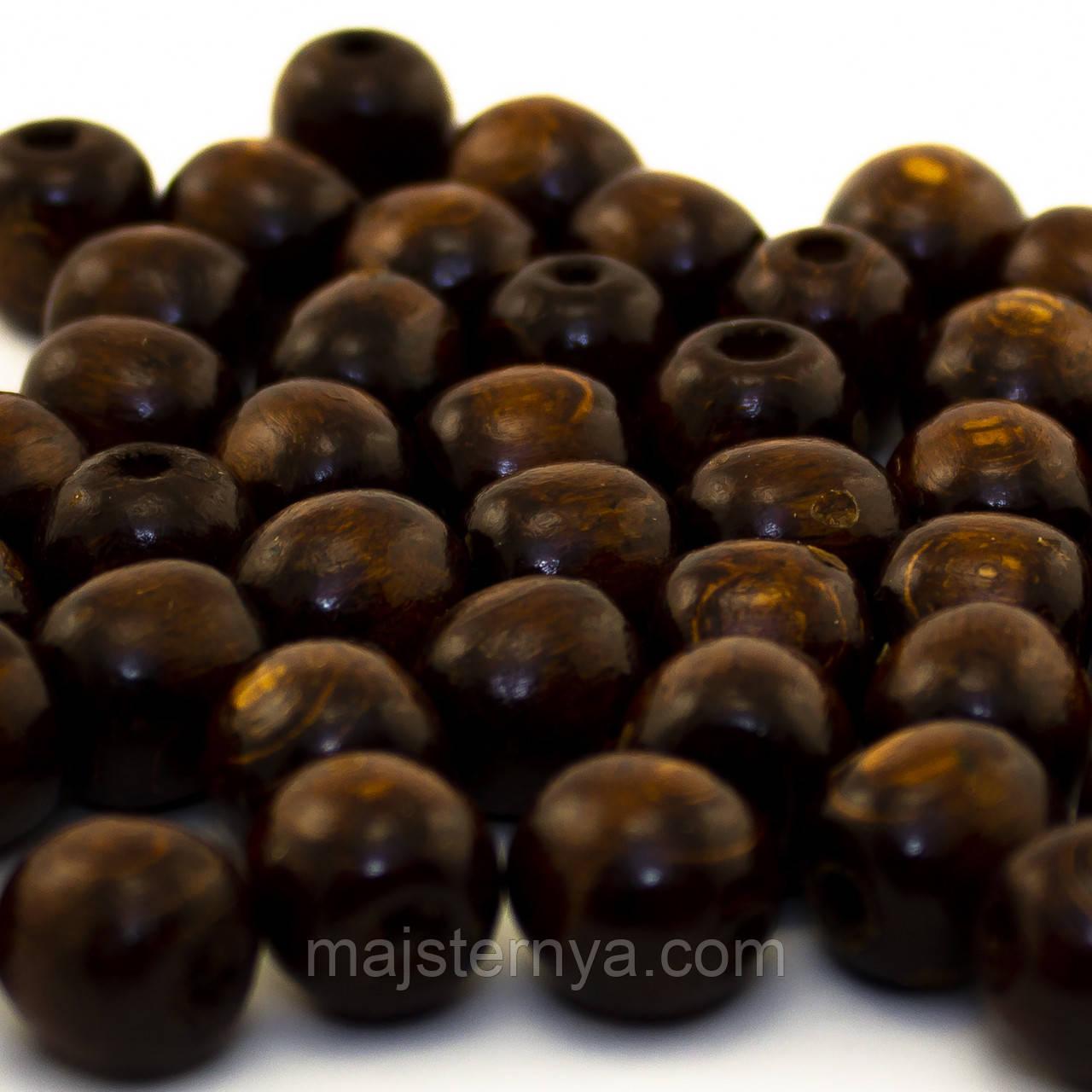 Дерев'яні бусини 1,3см коричневого кольору