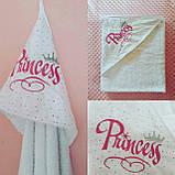 Махровий рушник з капюшоном і вишивкою для новонародженого, фото 3