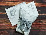 Махровий рушник з капюшоном і вишивкою для новонародженого, фото 5