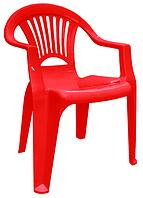 Кресло для летней площадки пластиковое Луч красный