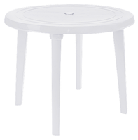 Пластиковый стол для кафе круглый белый