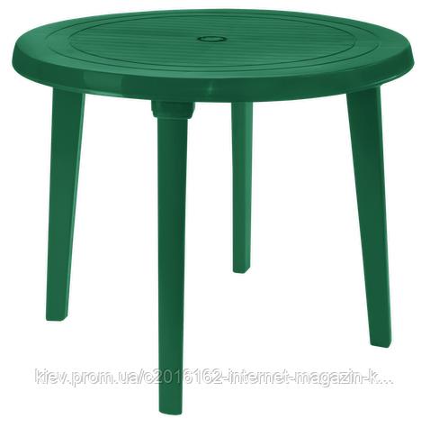 Пластиковый стол для сада круглый зеленый