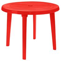 Пластиковый стол круглый красный