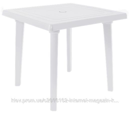 Столик для кафе и летней площадки квадратный белый