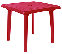 Пластиковый стол для летней веранды квадратный вишневый