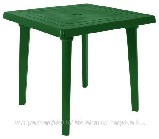 Пластиковый стол для летнего кафе квадратный зеленый