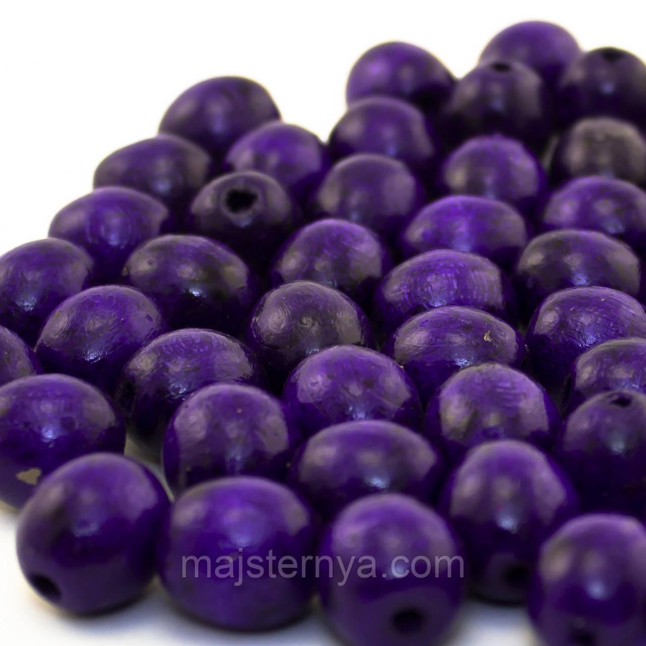 Дерев'яні бусини 1,3см фіолетового кольору
