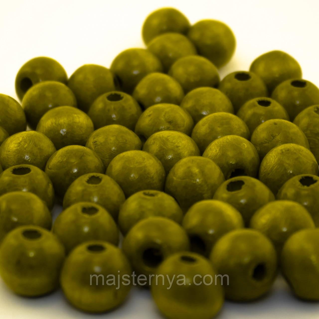 Дерев'яні бусини 1,3см оливкові