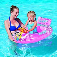 Надувная игрушка Bestway Плотик 34096 розовый, Лодка с рулем (пищалка),102-69см, 3-6лет