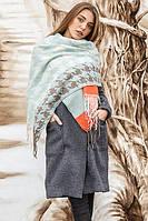 """Красивый и тёплый женский шарф """"Трей"""" - 260319 небесный"""