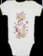 Детский боди-футболка, однотонная с принтом, тонкий хлопок, ТМ Garden Baby, р. 74-80, Украина