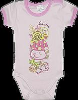 Детский боди-футболка, однотонная с принтом, тонкий хлопок, ТМ Garden Baby, р.: 62-68, 68-74, Украина
