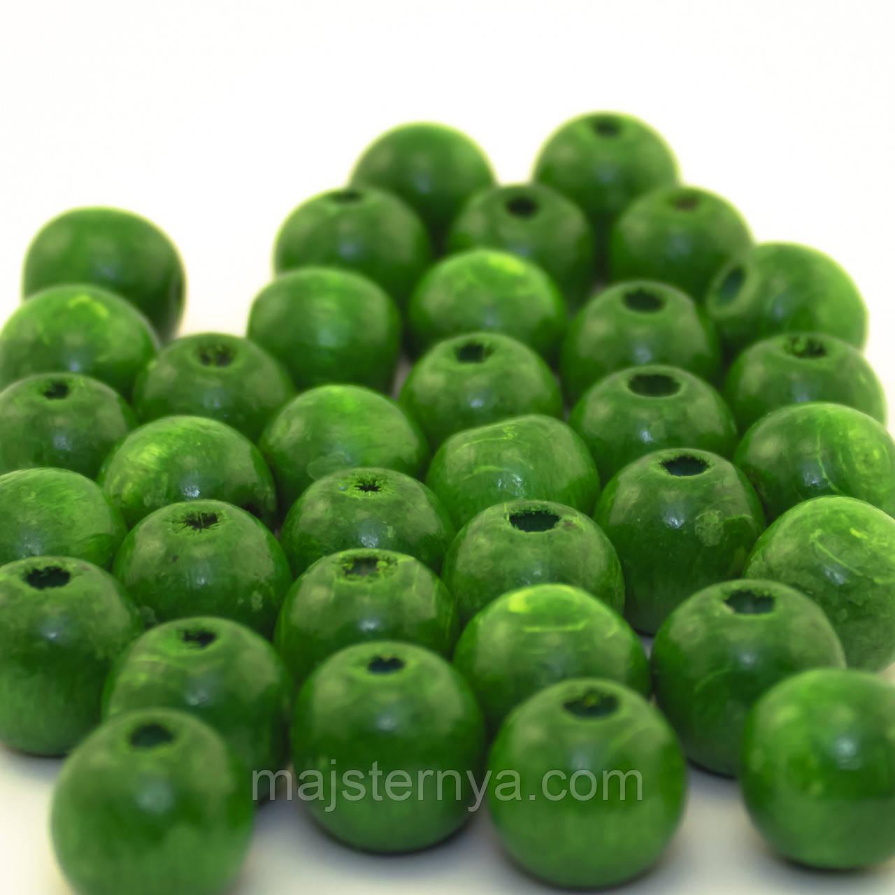 Дерев'яні бусини 1,3см світло-зелені