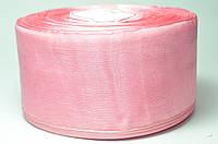 Лента из органзы 5 см, розовая, рулон (46 м.)