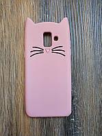 Объемный 3d силиконовый чехол для Samsung A6 2018 Galaxy A600 Усатый кот розовый