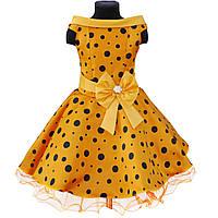 """Желтое платье в горошек для девочки """"Стиляги"""", фото 1"""