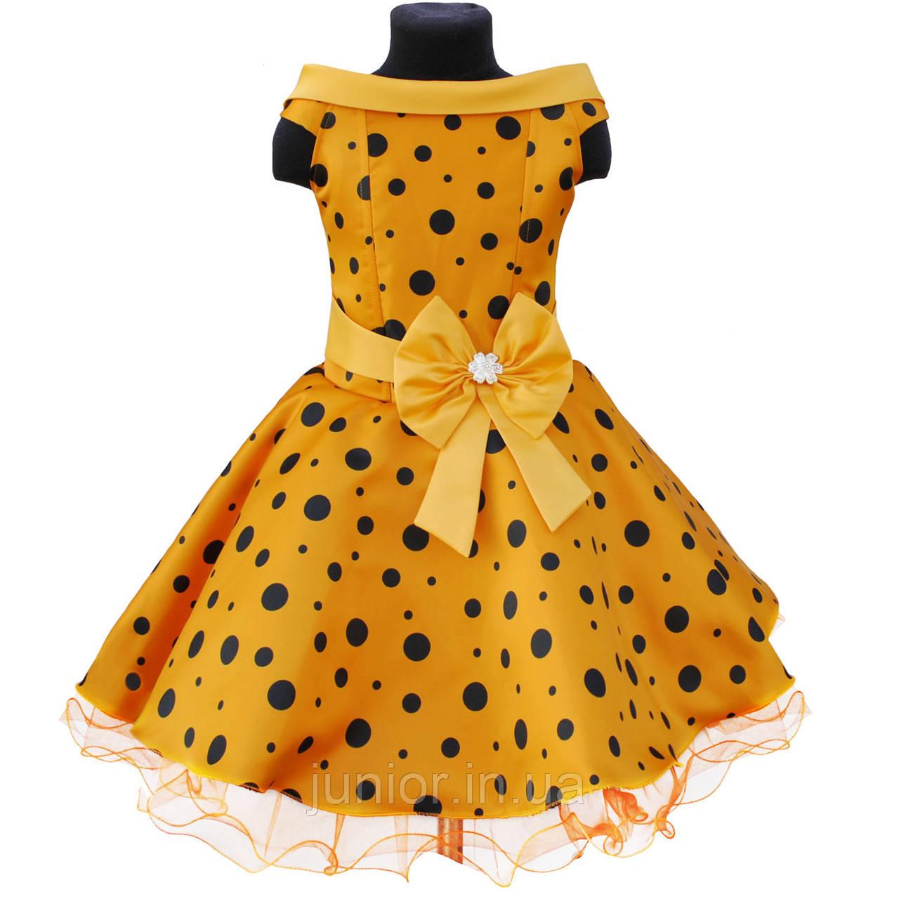 3686977ef94efd2 Желтое платье в горошек для девочки