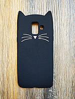 Объемный 3d чехол для Samsung A6 2018 A600 Усатый кот черный