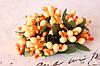 Декоративные веточки с тычинками 10-12 шт/уп. в глитерной обсыпке оранжевого цвета