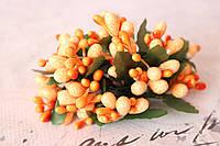 Декоративные веточки с тычинками 10-12 шт/уп. в глитерной обсыпке оранжевого цвета, фото 1