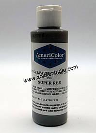 """Гелевый краситель Super red (супер красный) 128 г.""""AmeriColor"""""""