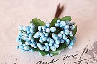 Декоративные веточки с тычинками 10-12 шт/уп. в глитерной обсыпке голубого цвета