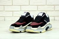 Женские кроссовки BalenciagaTriple S black-bordo