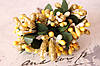Декоративные веточки с тычинками около 144 шт/уп. в глитерной обсыпке желтый с золотом оптом