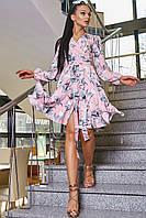 Женское нарядное платье персиковое с цветочным принтом, с запахом,с рюшами, праздничное, романтичное