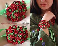 """""""Красные маки"""" браслет ручной работы из полимерной глины в украинском стиле, фото 1"""