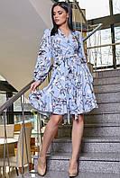 Платье женское голубое с цветочным принтом с запахом рюшами поясом