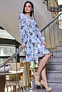 Голубое летнее платье с цветочным принтом с запахом рюшами поясом, фото 4