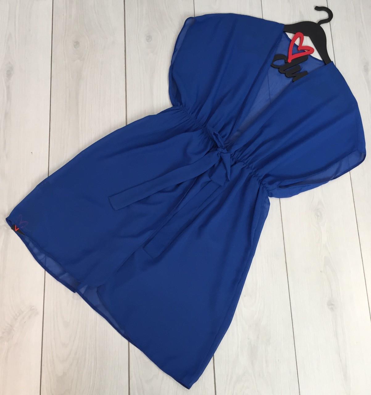 Пляжная одежда туника шифоновая, короткая туника с завязками синяя