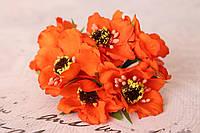 Декоративные цветы (маки) диаметр 5 см, ярко-оранжевого цвета