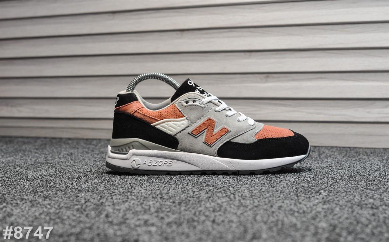 Женские кроссовки New Balance 998 Gray Black Orange, Реплика