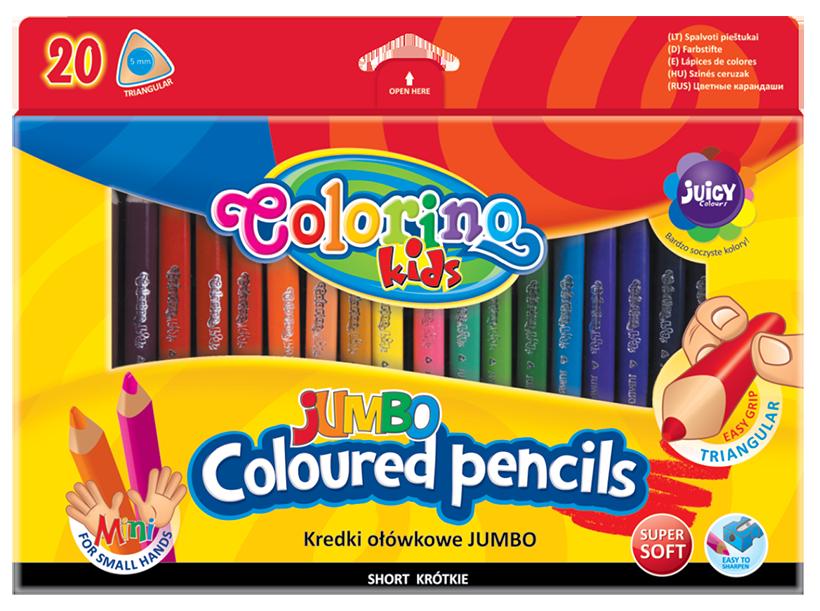 Карандаши цветные с точилкой 20 цветов, Colorino Jumbo