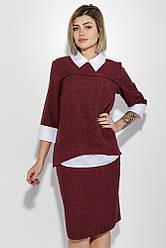 Костюм женский (блузка и юбка) батал, деловой, имитация двойки 74PD307 (Марсала меланж)