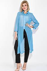 Костюм женский двойка (брюки, рубашка) 74PD336 (Голубой-черный)