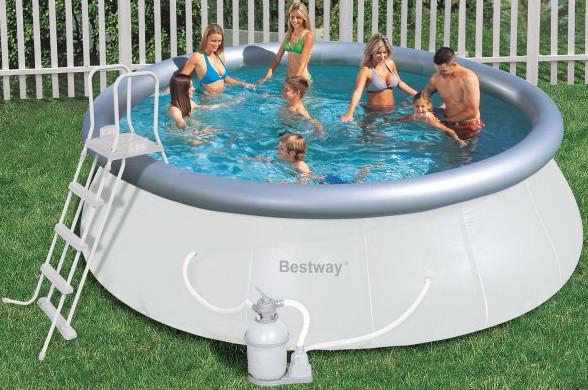 Бассейн круглый надувной BestWay 57242 (457*122 см) с песочным фильтром